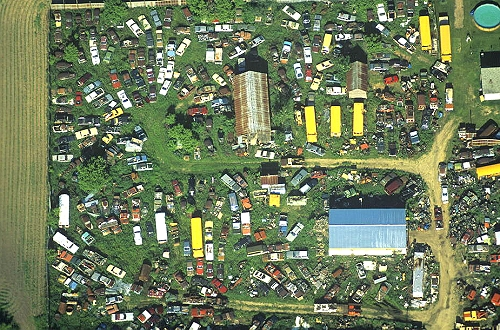 Aerial photo of Farmyard Junk, Trempealeau County, Wisconsin, WI  United States