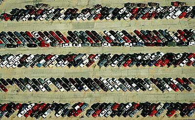 Aerial photo of Insurance Damaged Car Lot, Littleton, Colorado, CO  United States