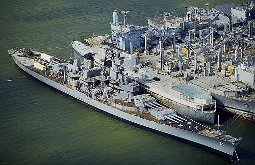 Airphoto Aerial Photograph Of Uss Iowa Bb61 Suisun Bay
