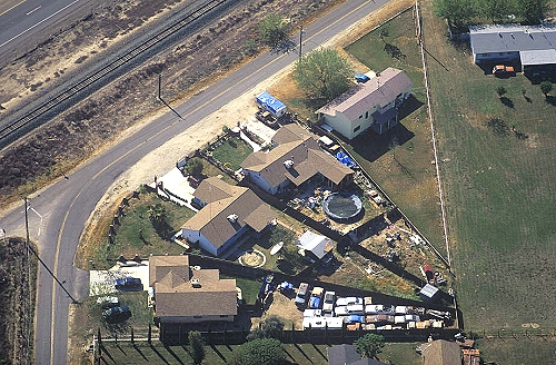 Aerial Photo Of Backyard Junkyard, Merced, California, CA United States