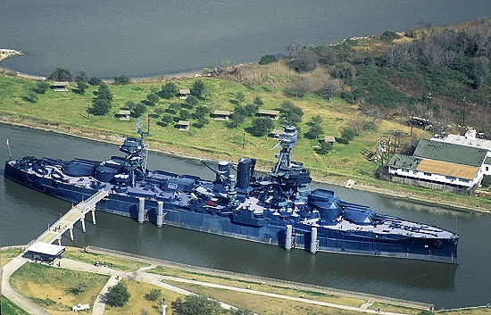 Airphoto aerial photograph of uss texas bb 35 la for La porte tx water department