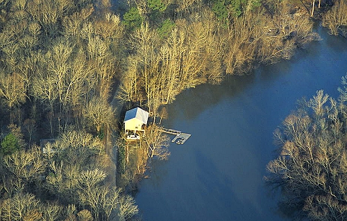 Airphoto aerial photograph of fishing cabin texas for Fishing cabins in louisiana