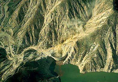 Aerial photo of Pacoima Dam & Reservoir, San Fernando, California, CA  United States