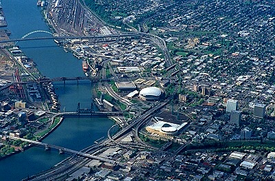 Airphoto Aerial Photograph Of Downtown Portland