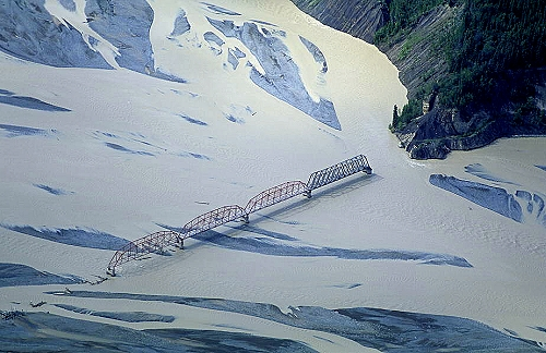 Aerial photo of Bridge to Nowhere, Nizina River - near McCarthy, Alaska, AK  United States