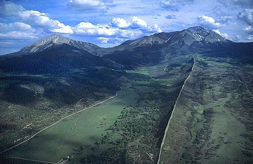 Aerial photo of Spanish Peaks, Huerfano County, Colorado, CO  United States