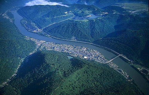 Aerial photo of Coal Town, Fayette County, West Virginia, WV  United States