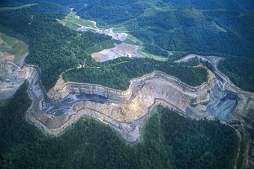 Aerial photo of Mountain Top Coal Mining, Logan County, West Virginia, WV  United States