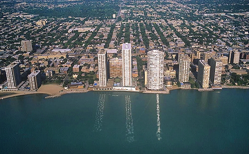 Aerial photo of High Rise Lakefront Apartments  Evanston  Illinois  IL  United States. Airphoto   Aerial Photograph of High Rise Lakefront Apartments