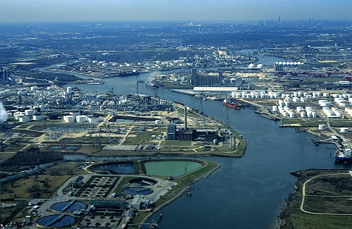 Aerial photo of Houston Ship Canal, Houston, Texas, TX  United States