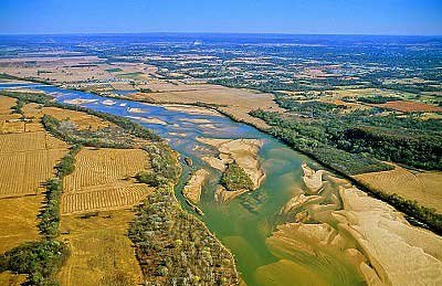 Aerial photo of Arkansas River, North of Muskogee, Oklahoma, OK  United States