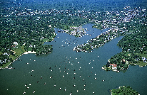 Aerial photo of Greenwich Harbor, Greenwich, Connecticut, CT  United States