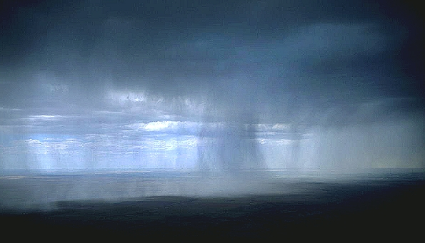 airphoto   aerial photograph of rain squalls southwest