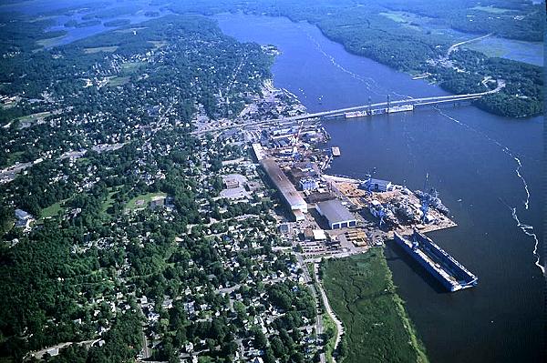 airphoto   aerial photograph of bath shipyard us hy 1