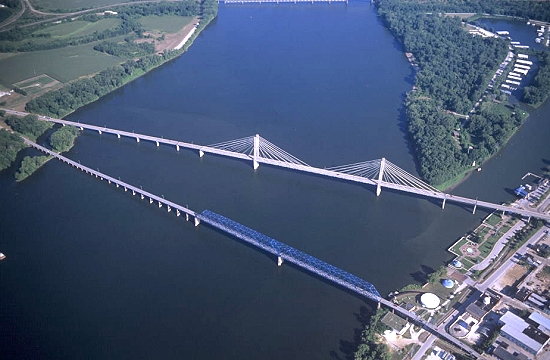 Quincy (IL) United States  city pictures gallery : Aerial photo of US 24 Bridge s , Quincy, Illinois, IL United States