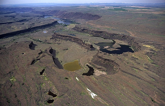Aerial photo of Dry Falls, Grant County, Washington, WA  United States