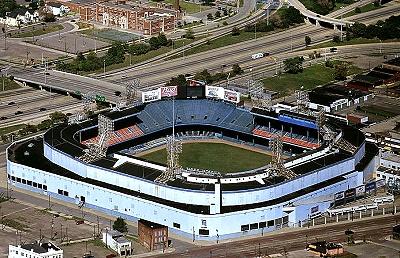 Aerial photo of old detroit tiger stadium wayne county michigan mi