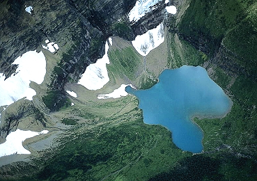 Airphoto  Aerial Photograph of Hanging Lake Glacier County