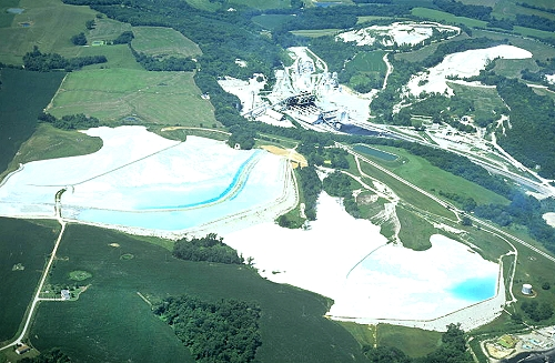 United States Cement Plants : Airphoto aerial photo of cement plant quarry saint