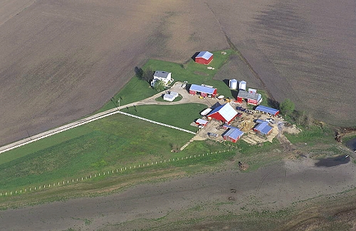 aerial photo of classic farm  mo
