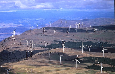 Aerial photo of Wind Farm, Klickitat County, Wasnington, WA  United States