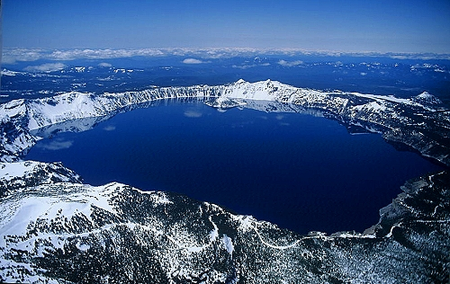 Aerial photo of Crater Lake, Crater Lake National Park, Oregon, OR  United States