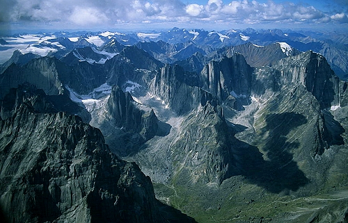 Aerial photo of Mackenzie Mountains, Northwest Territories, NT  Canada