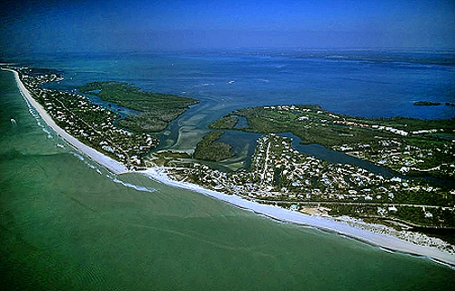 Aerial photo of Sanibel Island, Lee County, Florida, FL  United States
