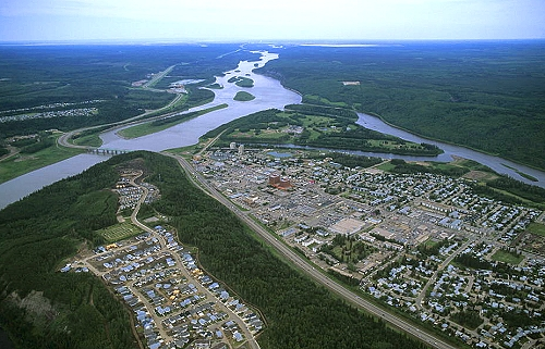 Aerial photo of Fort McMurray, Northern Alberta, AB Canada
