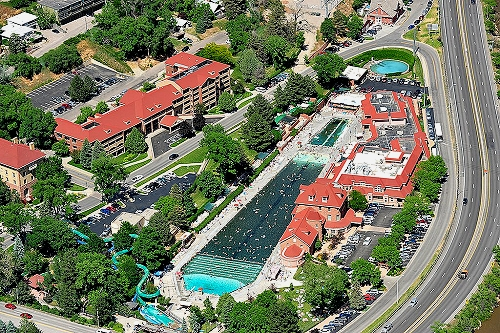 Airphoto aerial photograph of glenwood hot springs lodge - Garfield park swimming pool denver ...