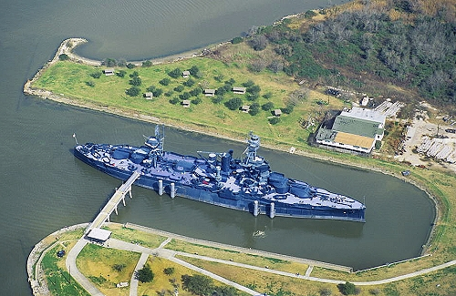 Airphoto aerial photograph of battleship uss texas bb for La porte tx water department
