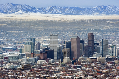 airphoto aerial photograph of downtown denver snow