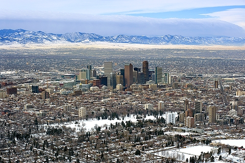 Airphoto - Aerial Photograph of Downtown Denver - to Mtns ... - photo#30