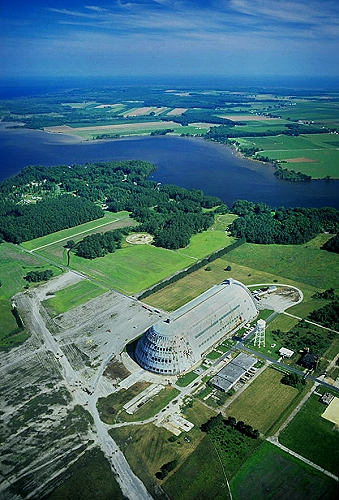 Aerial photo of WW2 Blimp Hangar, Pasquotank County, North Carolina, NC  United States