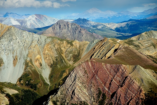 airphoto aerial photo of mountain folding faulting pitkin